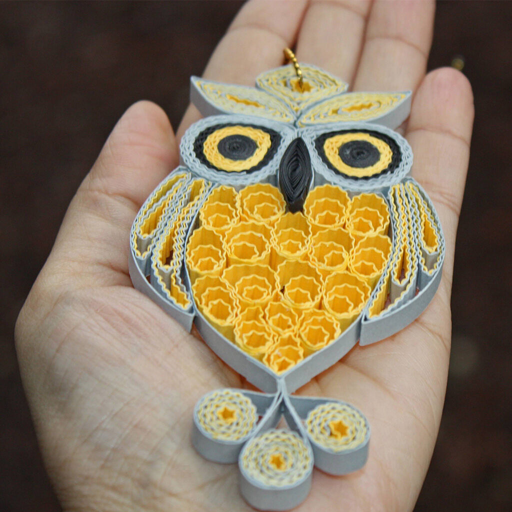 Grey_yellow_owl_quilling_ornament